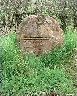 detail of Dumfries 7 Annan 10 milestone at NY068721