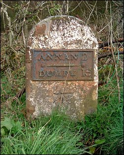 detail of Dumfries 15 Annan 2 milestone at NY169665