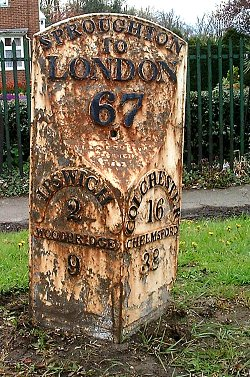 detail of Chantry Park milepost at TM140438