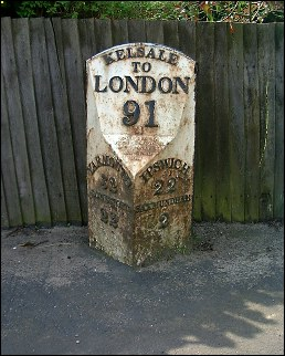 detail of Kelsale milepost at TM383655