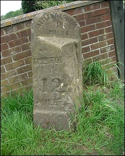 detail of Hargham Heath milestone at TM026930
