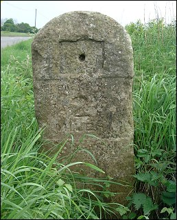 detail of Norwich Gap milestone at TM121920