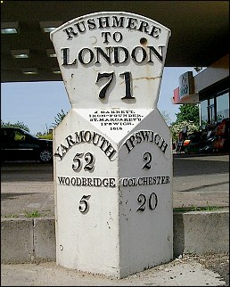 detail of Rushmere milepost at TM192452