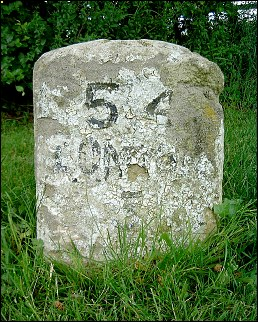 detail of Bungalow Hill milestone at TL584581