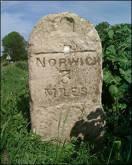 detail of Colney milestone at TG176078