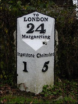 detail of Margaretting Hall milepost at TL661009