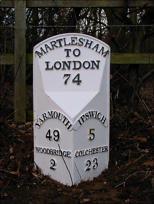 detail of Kesgrave Hall milepost at TM238462
