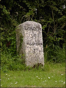 detail of Little London milestone at SP875059