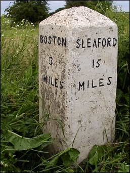 detail of Willoughby Farm milestone at TF285428