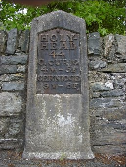 detail of Betws-y-Coed milestone at SH784566