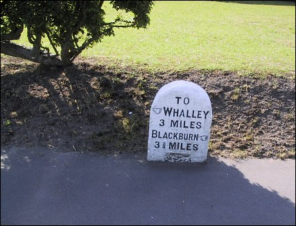 detail of Wilpshire milestone at SD696331