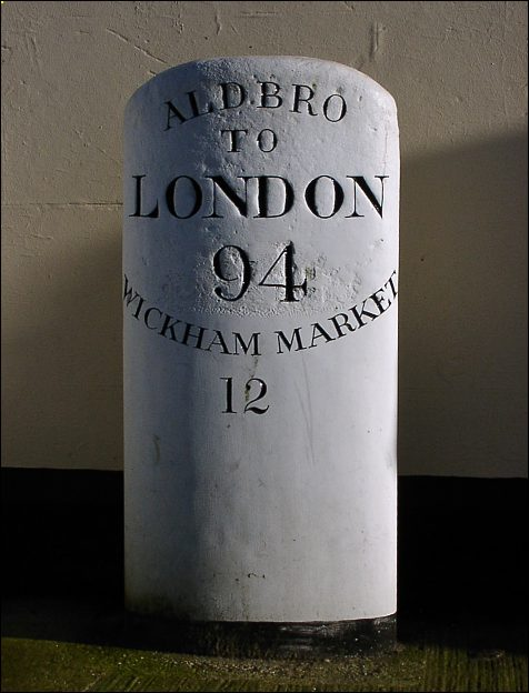 detail of Aldeburgh milestone at TM463563