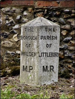 detail of Audley End boundary stone at TL519374