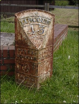 detail of Market Deeping milepost at TF136104