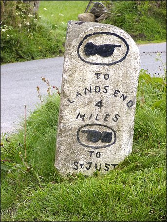 detail of St Just Aerodrome milestone at SW379288