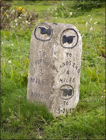 extra detail of St Just Aerodrome milestone at SW379288