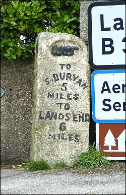detail of St Just milestone at SW374311