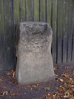 detail of Woodstock Arms boundary stone at SP504091